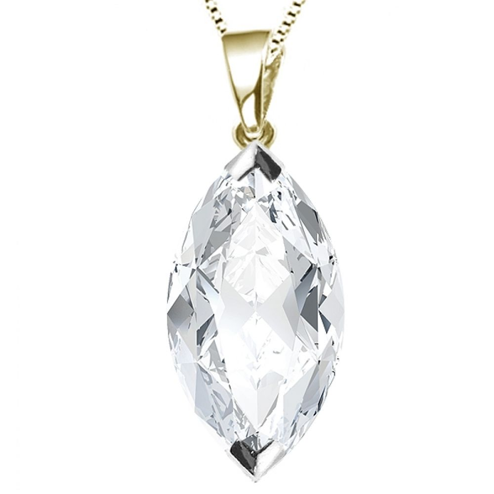 2 Claw Marquise Diamond Solitaire Pendant In Yellow Gold