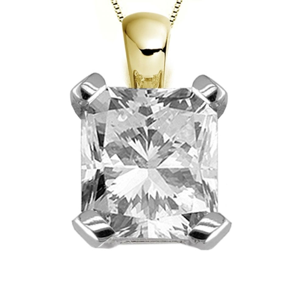 4 Claw Radiant Cut Diamond Solitaire Pendant In Yellow Gold
