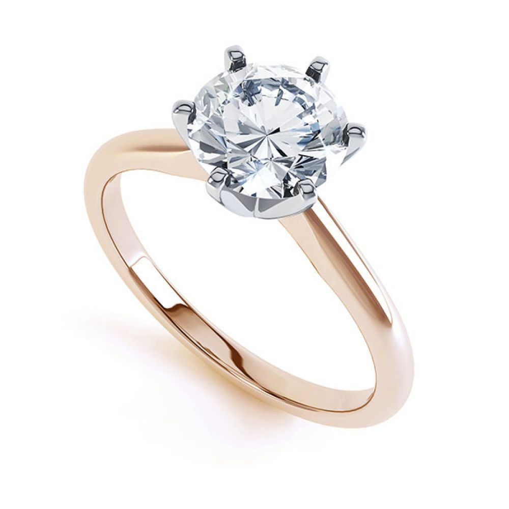 6 Claw Open Solitaire Diamond Engagement Ring Side View