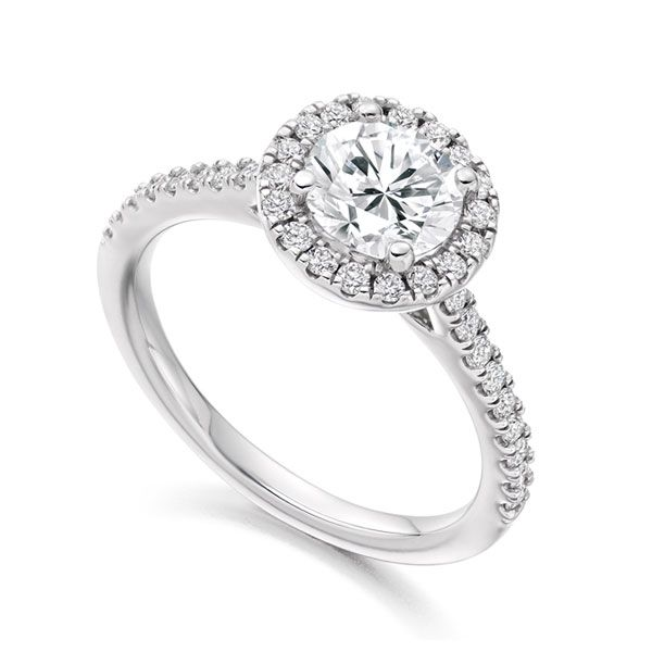 Round Diamond Halo Ring with Diamond Shoulders Main Image