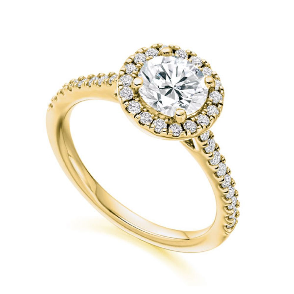 Sienna diamond halo with diamond shoulders, Yellow