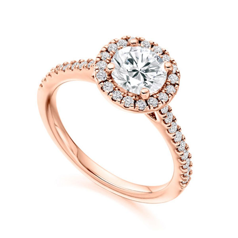 Sienna diamond halo with diamond shoulders, Rose