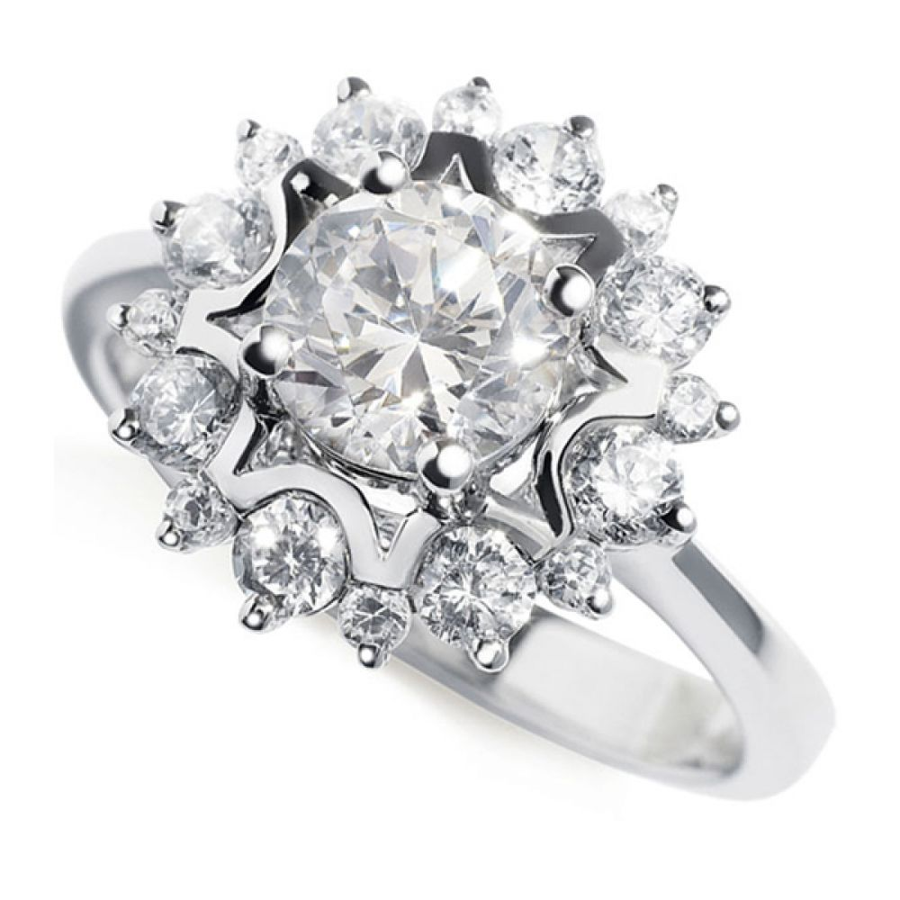 Floral Design Diamond Halo Ring - White