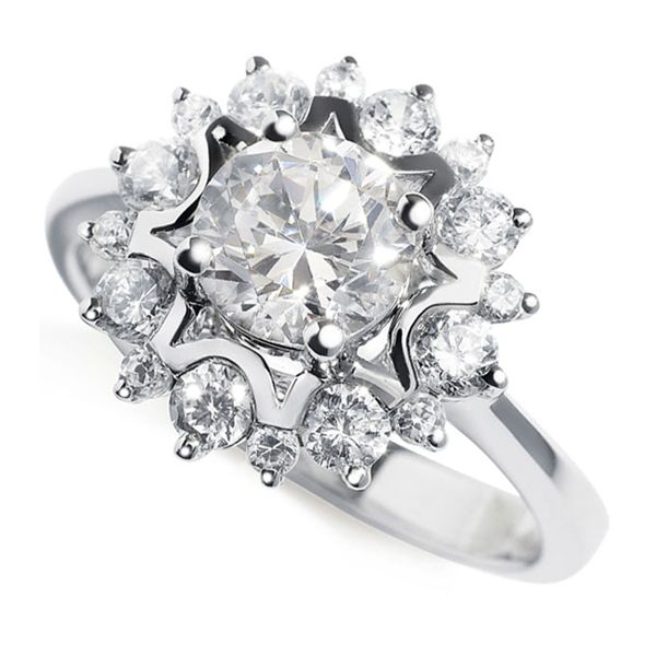 Floral Design Diamond Halo Ring Main Image