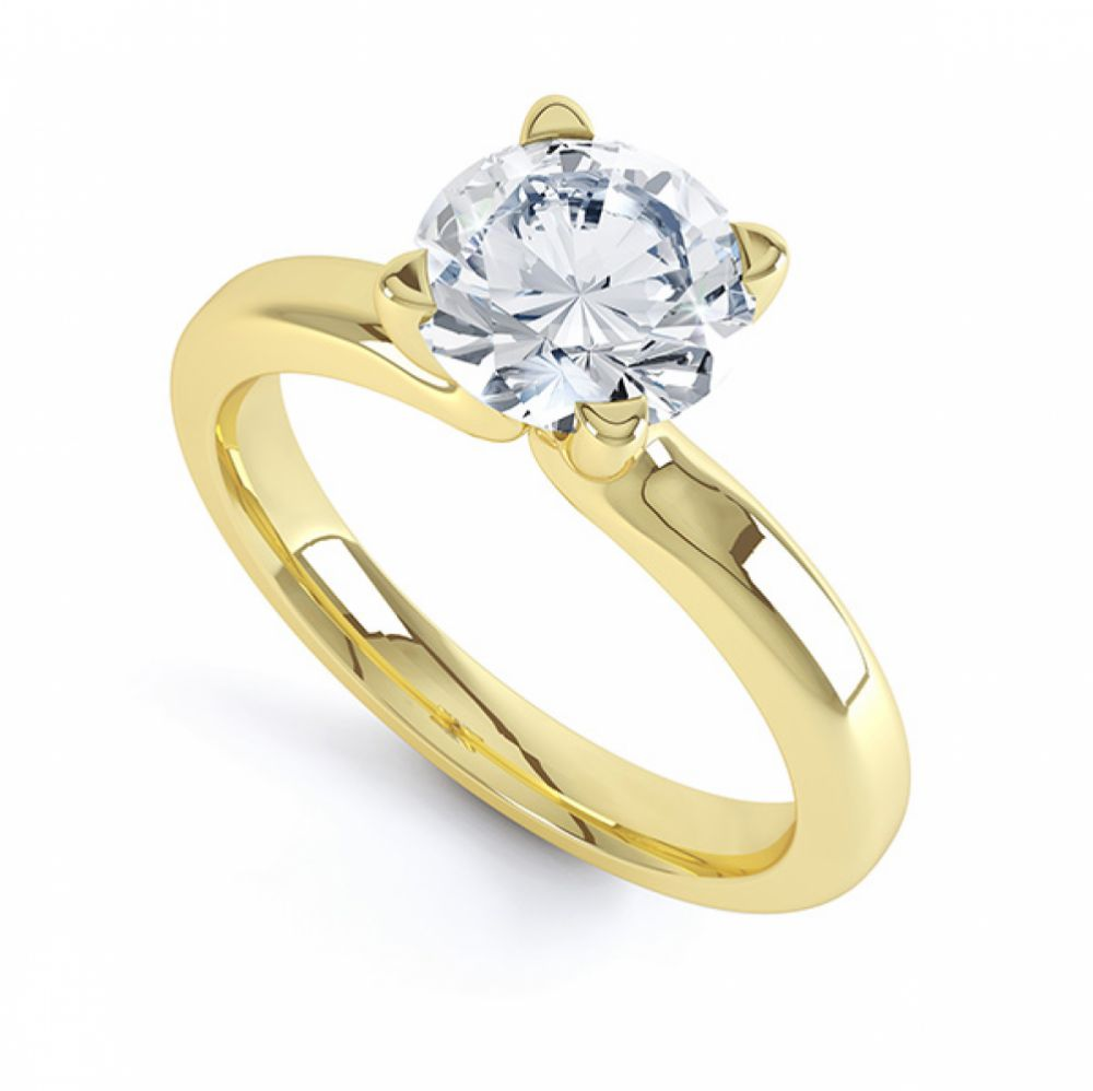 4 claw solitaire engagement ring swan, yellow gold perspective view