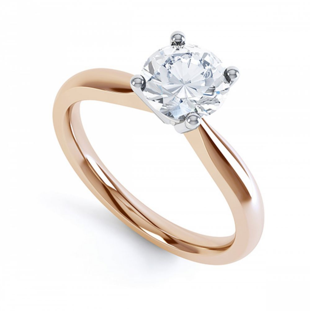 Round diamond solitaire engagement ring R1D004 rose gold