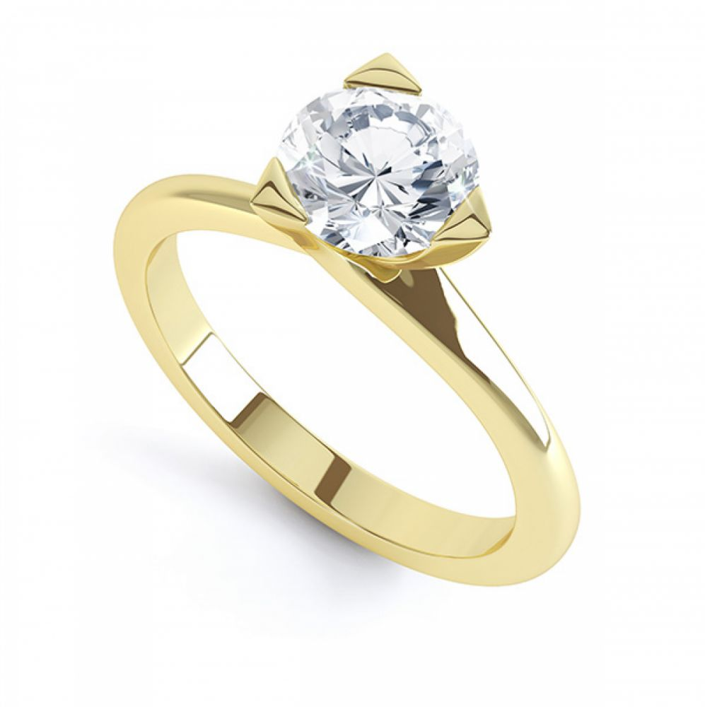 Three Claw Solitaire Diamond Engagement Ring In Yellow Gold