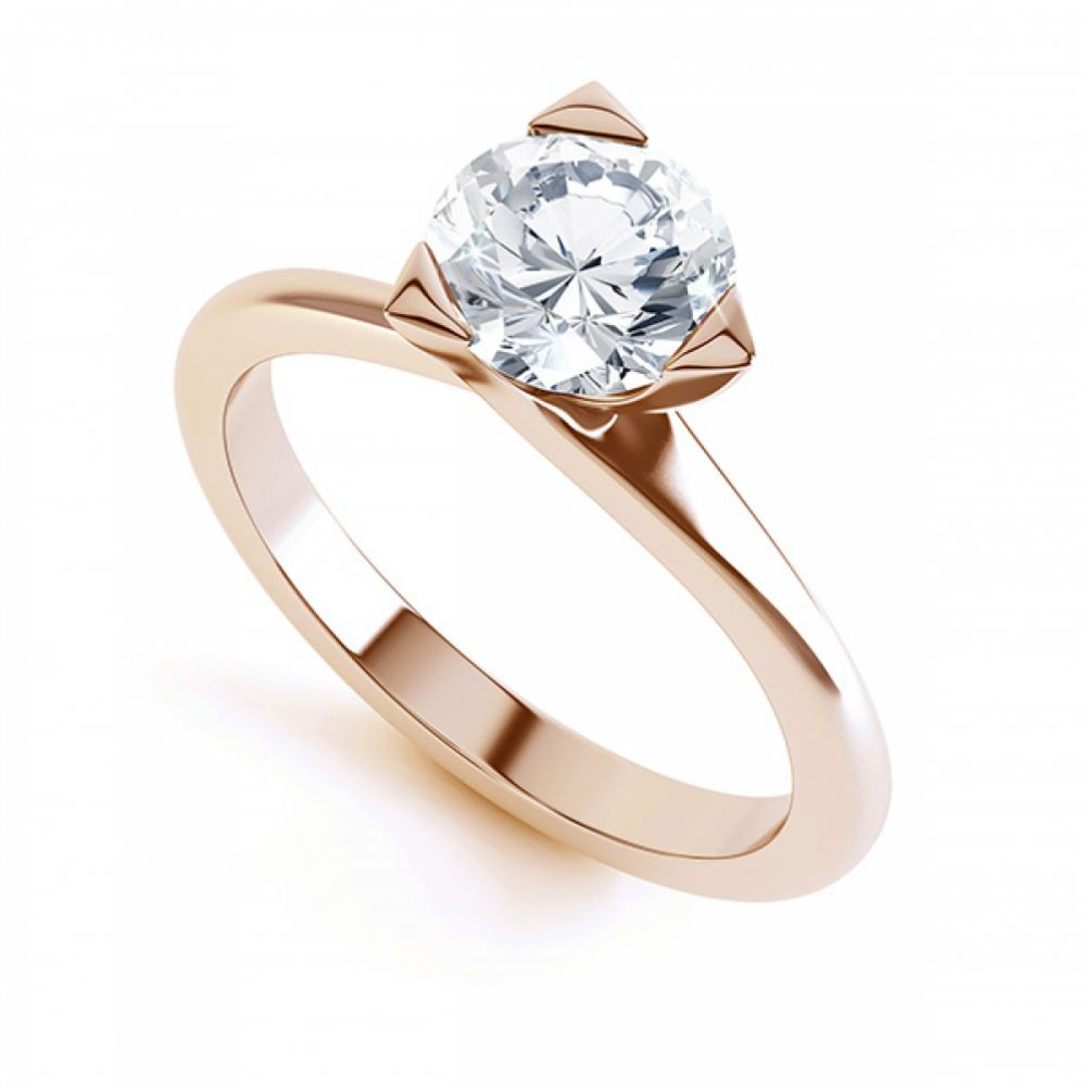 Three Claw Solitaire Diamond Engagement Ring Rose Gold