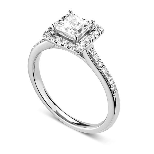 Princess Cut Halo with Diamond Set Shoulders Main Image