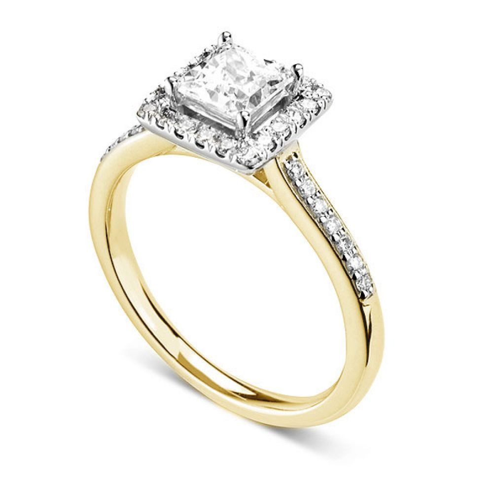 Princess cut diamond halo with diamond shoulders - Perspective - Yellow