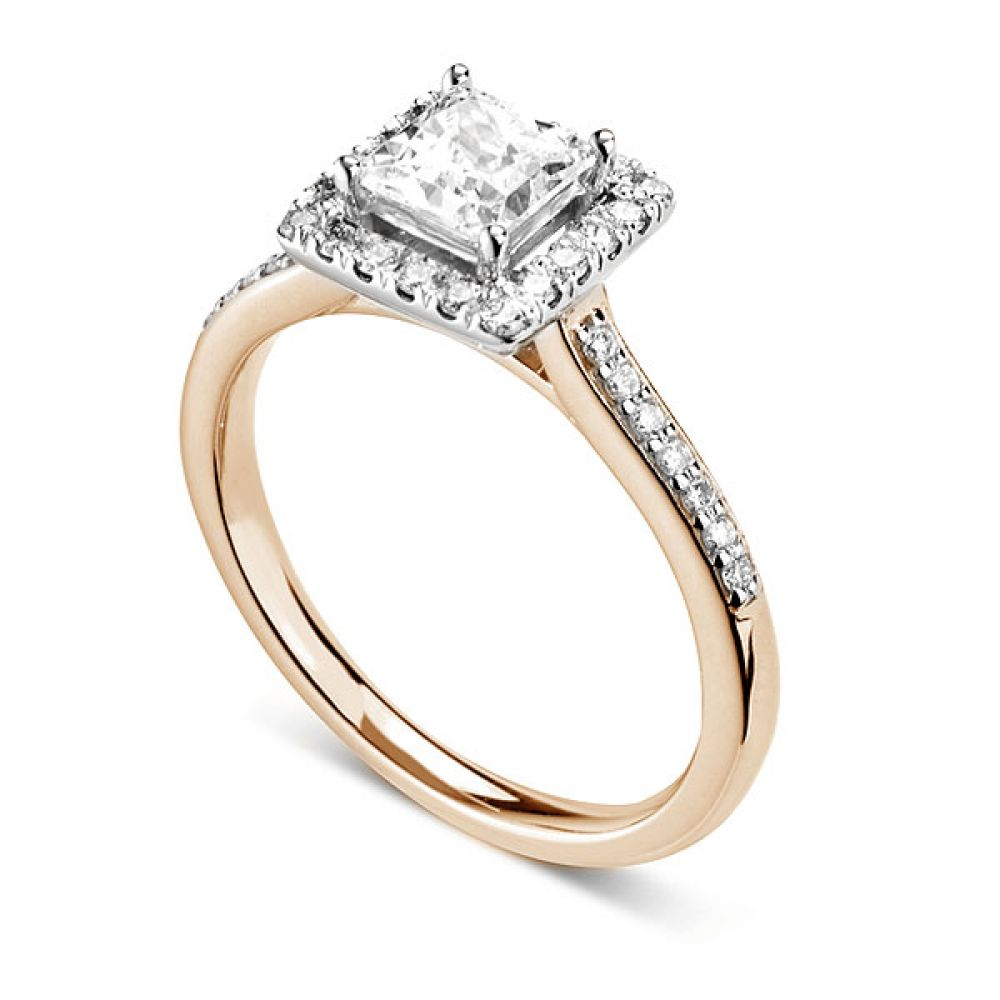 Princess cut diamond halo with diamond shoulders - Perspective - White