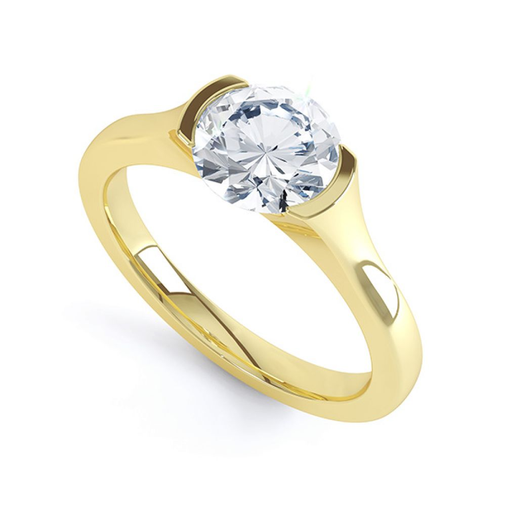 Round Solitaire Engagement Ring Chloe R1D006 Perspective Yellow Gold