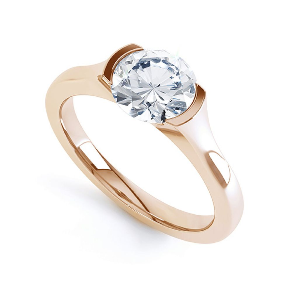Round Solitaire Engagement Ring Chloe R1D006 Perspective Rose Gold
