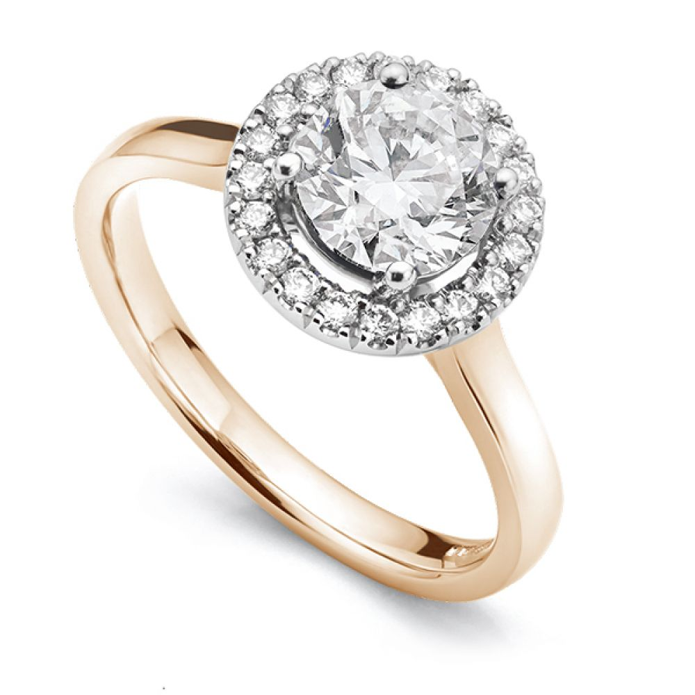 Diamond Halo Engagement ring in Rose Gold