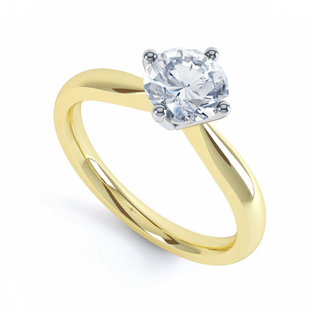 Compass Set Four Claw Round Solitaire Diamond Ring Yellow Gold
