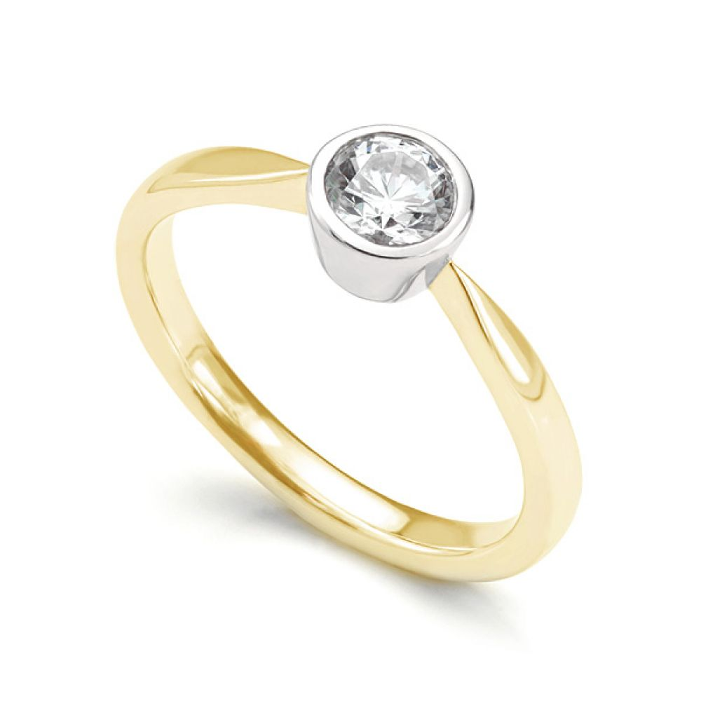 Bezel Set Round Diamond Solitaire Engagement Ring In Yellow Gold