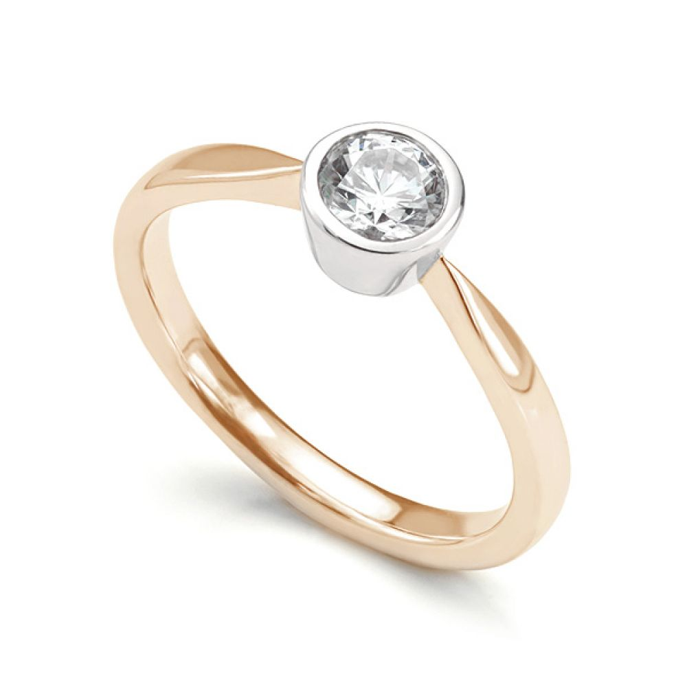 Bezel Set Round Diamond Solitaire Engagement Ring Rose Gold