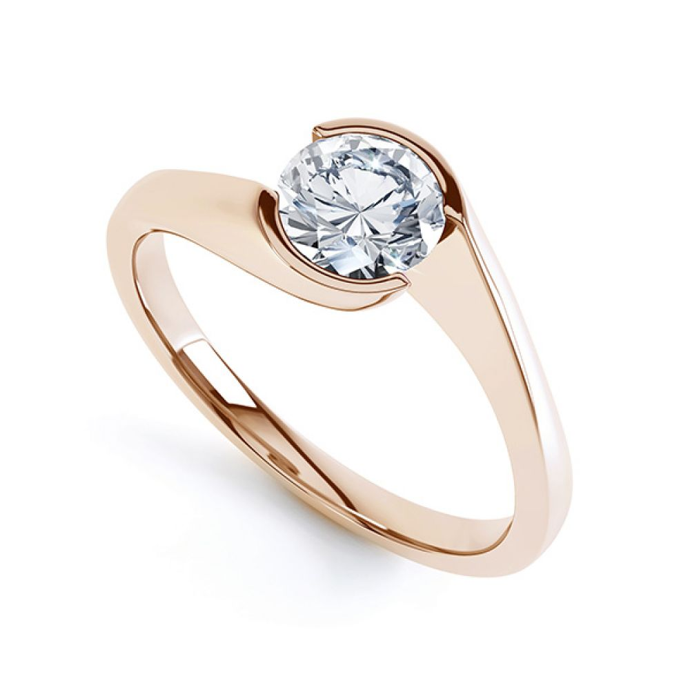 Zoe bezel set diamond engagement ring in Rose Gold, perspective view