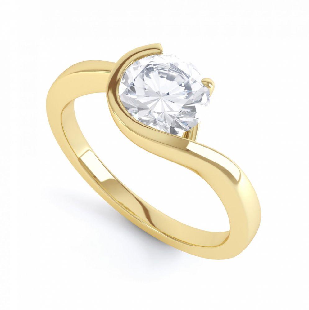 Asymmetrical Claw & Bezel Bezel Set Ring Yellow Gold