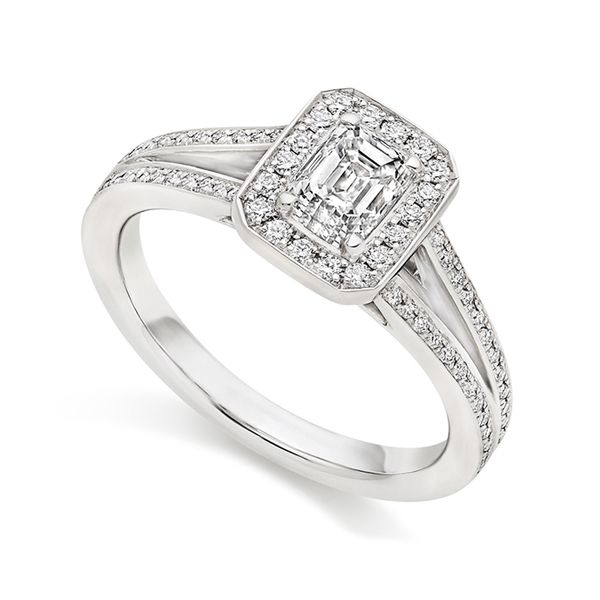 Emerald Cut Diamond Ring with Double Shoulders Main Image