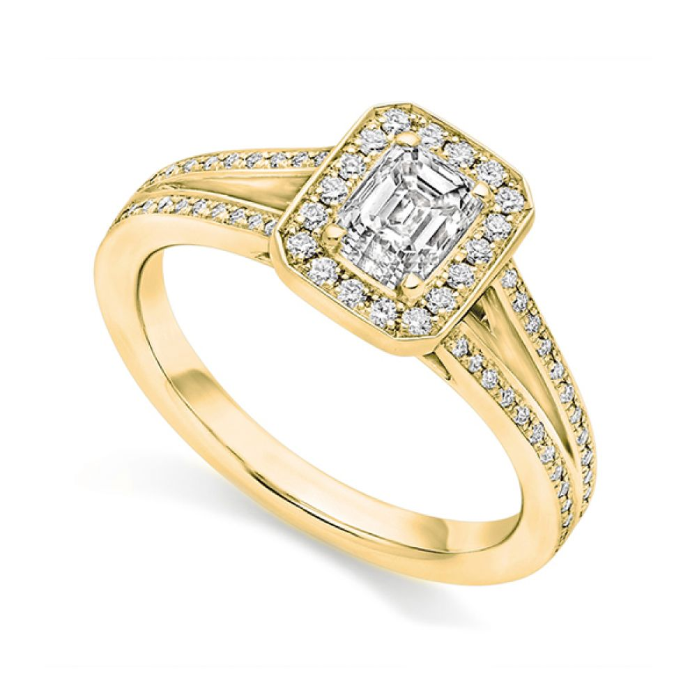 Emerald Cut Diamond Ring with Double Shoulders Perspective - Yellow