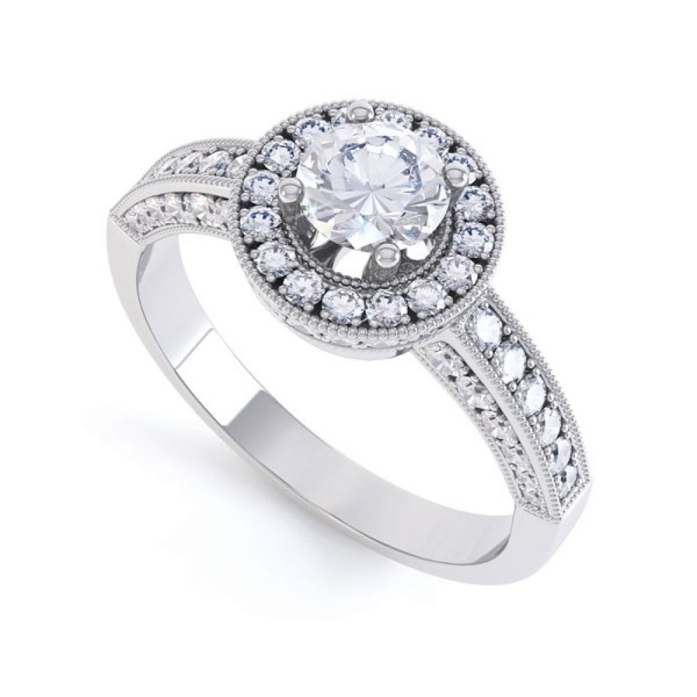 Vintage Styled Milgrain Diamond Halo Ring - White - perspective
