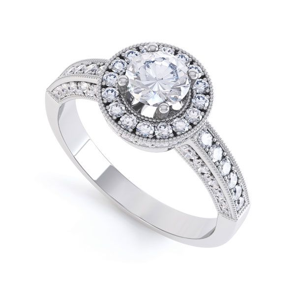 Vintage Styled Milgrain Diamond Halo Ring Main Image