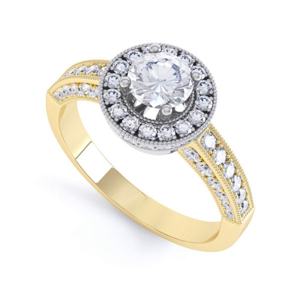 Vintage Styled Milgrain Diamond Halo Ring - yellow - perspective