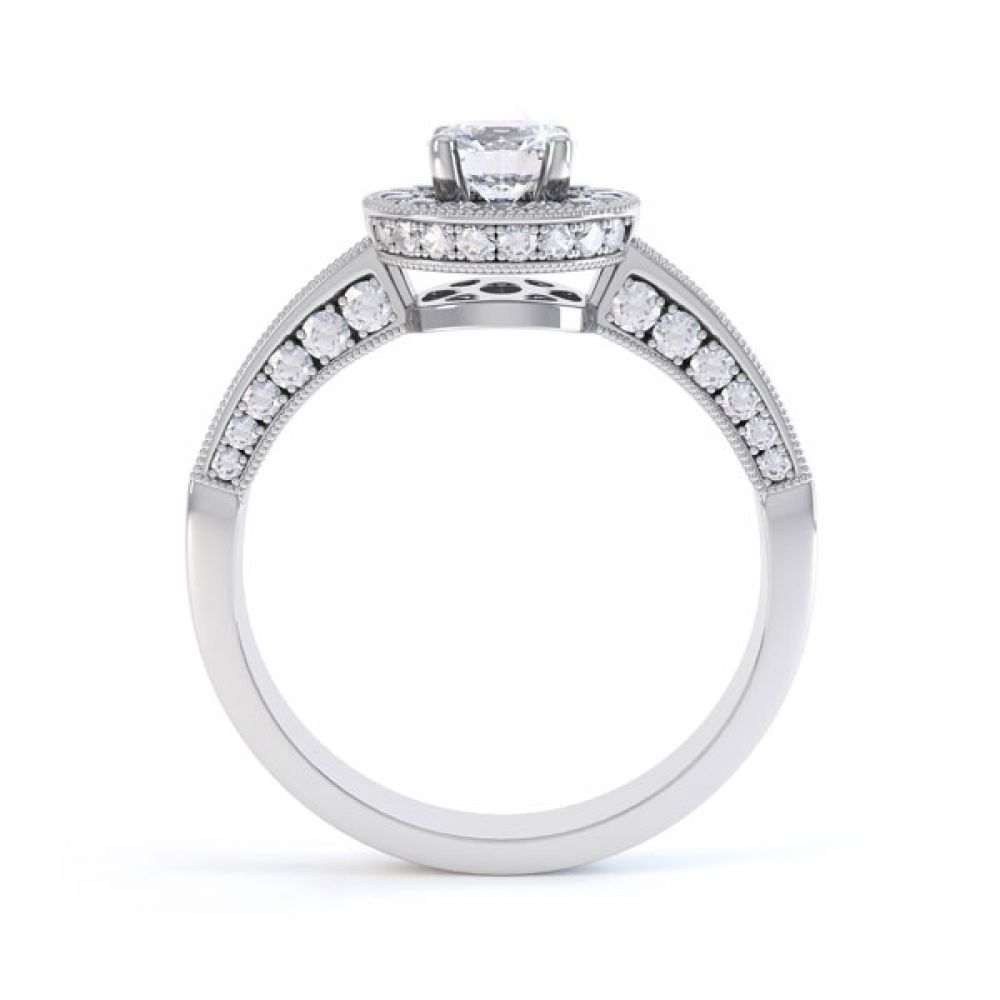 Vintage Styled Milgrain Diamond Halo Ring - White - Side