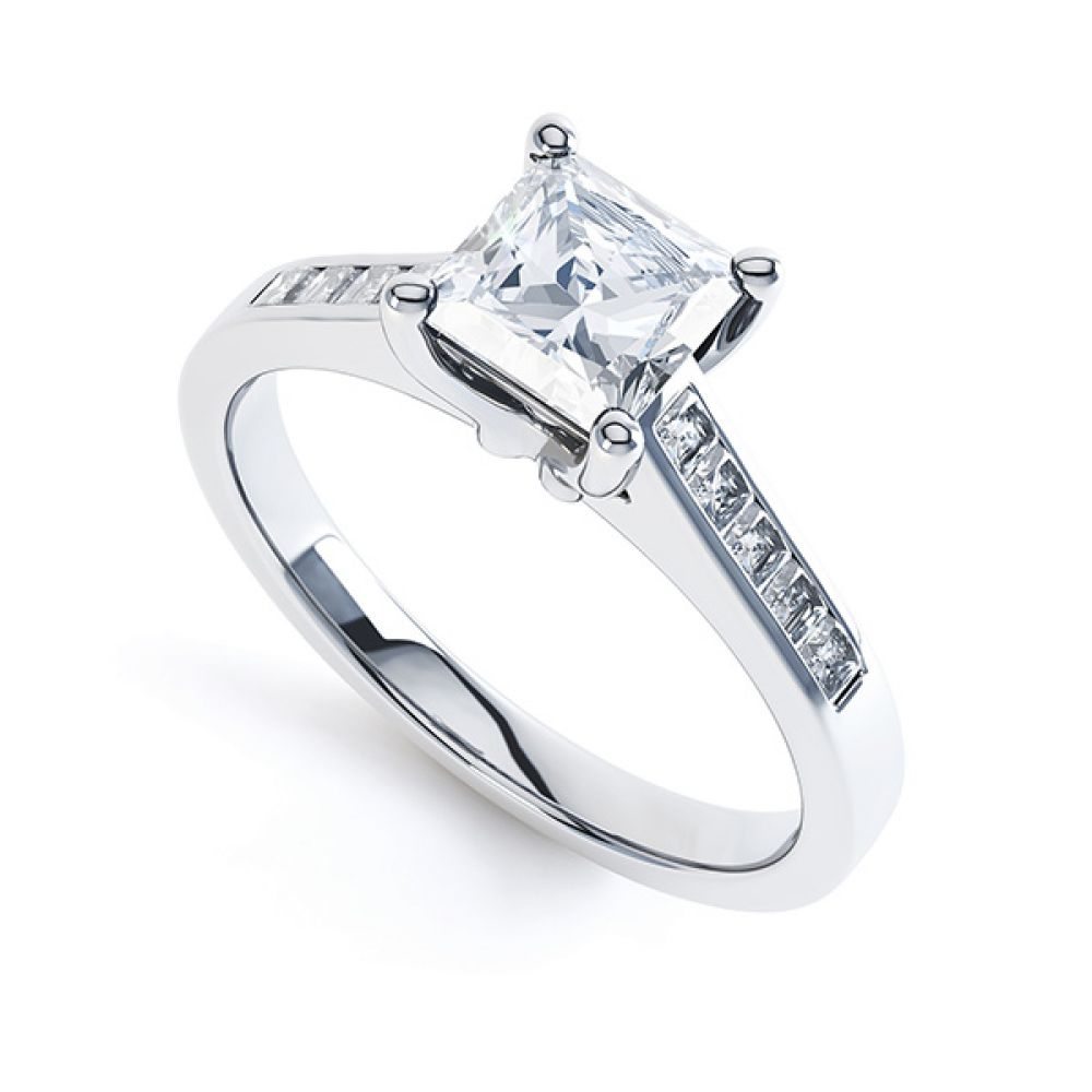 Fliss 4 claw Princess cut diamond engagement ring diamond shoulders perspective view in white gold