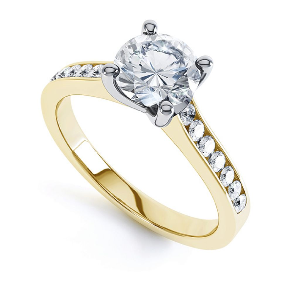 4 Claw Round Solitaire Diamond Shoulders Yellow Gold