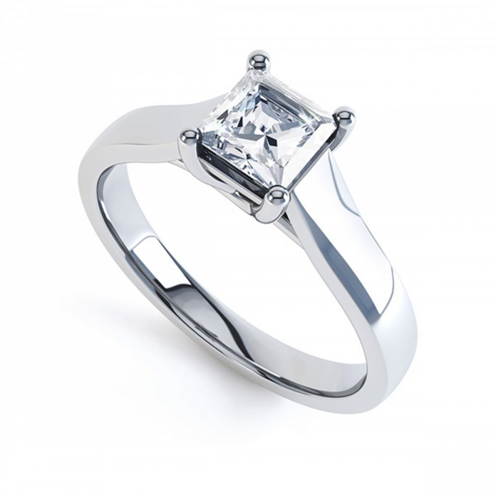 Lucida Style 4 Claw Princess Cut Diamond Ring