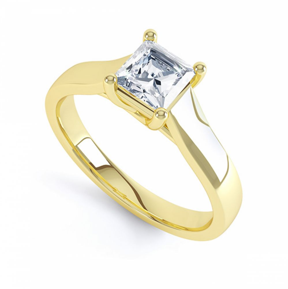 Lucida Style 4 Claw Princess Cut Diamond Ring In Yellow Gold