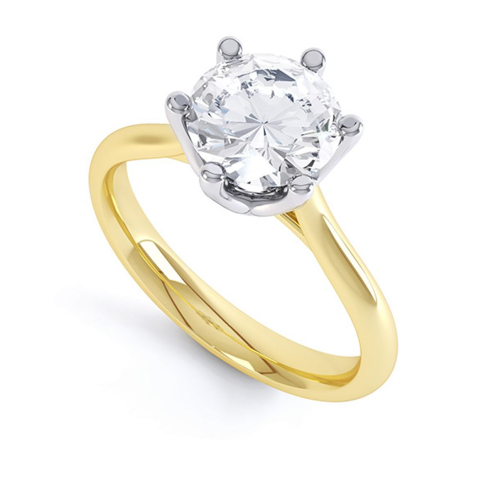 Tiffany Inspired 6 Claw Round Diamond Solitaire In Yellow Gold