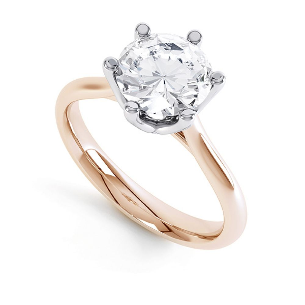 Tiffany Inspired 6 Claw Round Diamond Solitaire Rose Gold