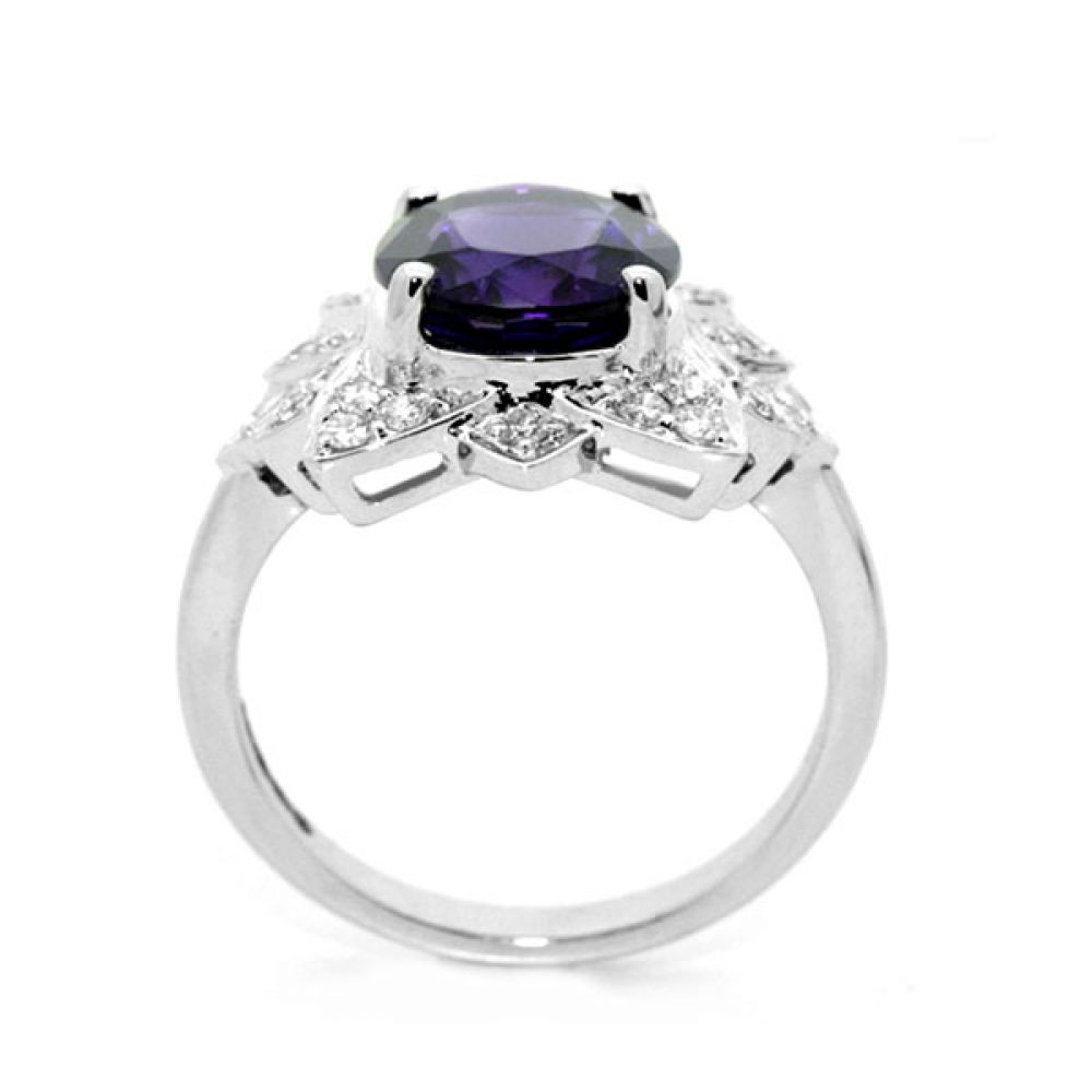 Ornate Amethyst & Diamond Floral Cluster Ring Front View