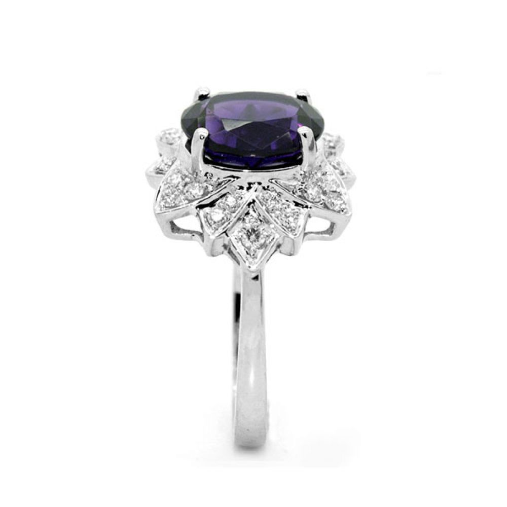 Ornate Amethyst & Diamond Floral Cluster Ring Side View