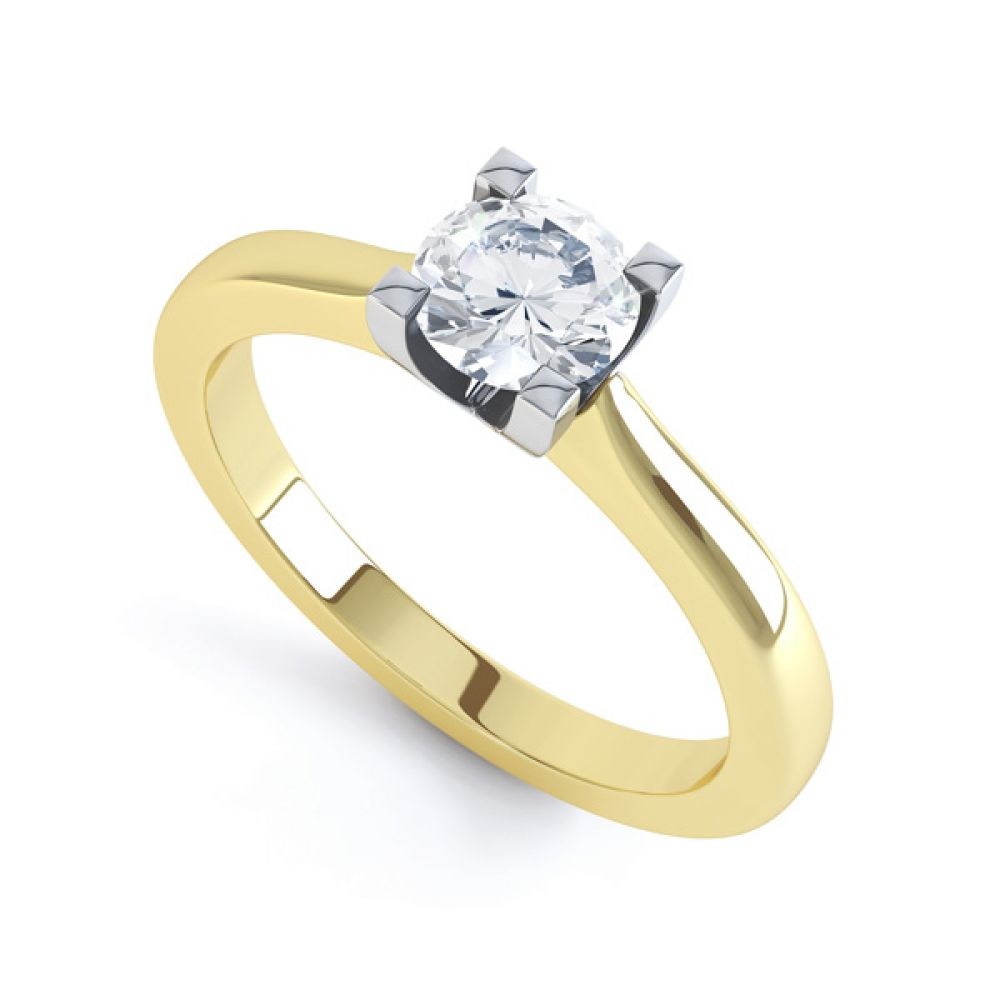 Squared 4 Claw Round Diamond Solitaire Ring In Yellow Gold