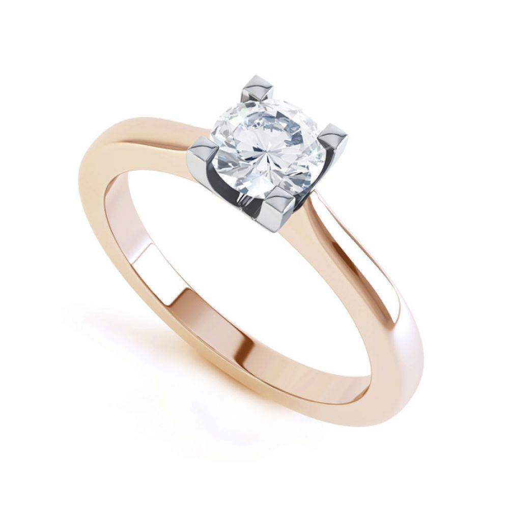 Squared 4 Claw Round Diamond Solitaire Ring In Rose Gold