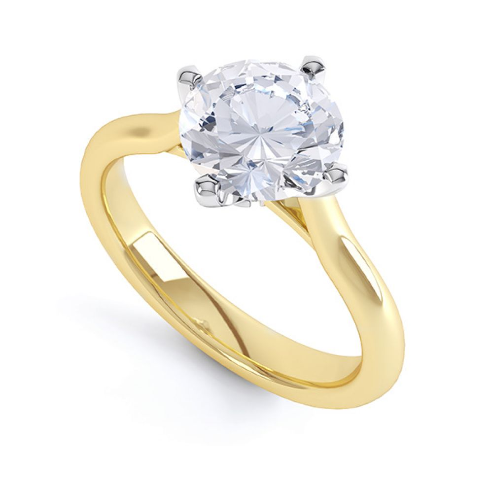 R1D022 Low Compass Set 4 Claw Round Solitaire Engagement Ring Naomi in Yellow Gold