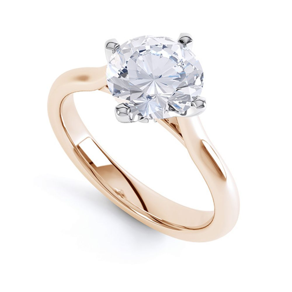 R1D022 Low Compass Set 4 Claw Round Solitaire Engagement Ring Naomi in Rose Gold