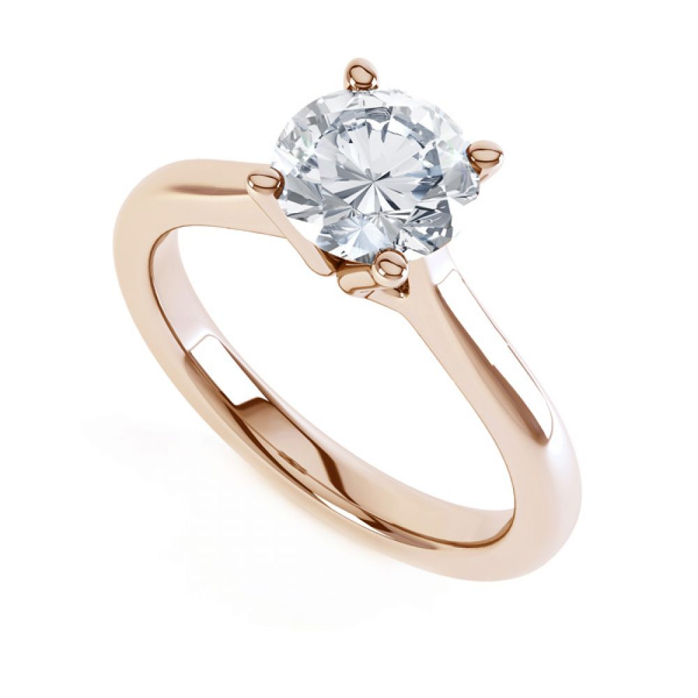 Swan Neck 4 Claw Round Diamond Engagement Ring Yellow Gold