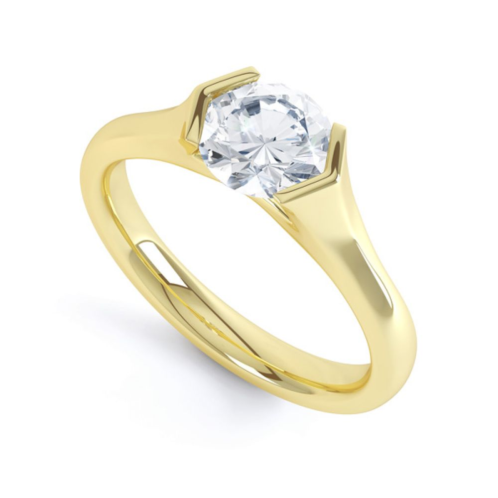 V Shaped Part Bezel Diamond Engagement Ring Side View