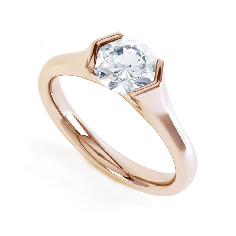 V Shaped Part Bezel Diamond Engagement Ring In Rose Gold