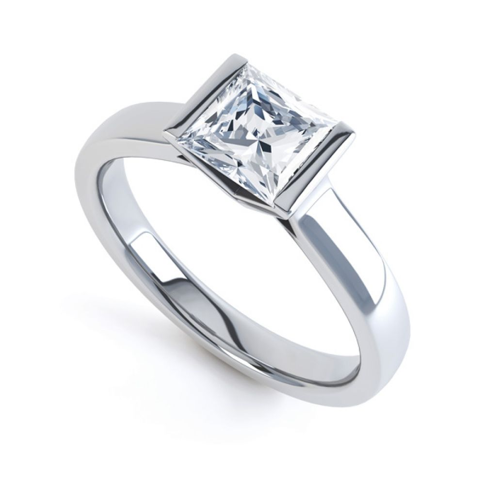 Tension Bar Set Princess Diamond Solitaire Ring