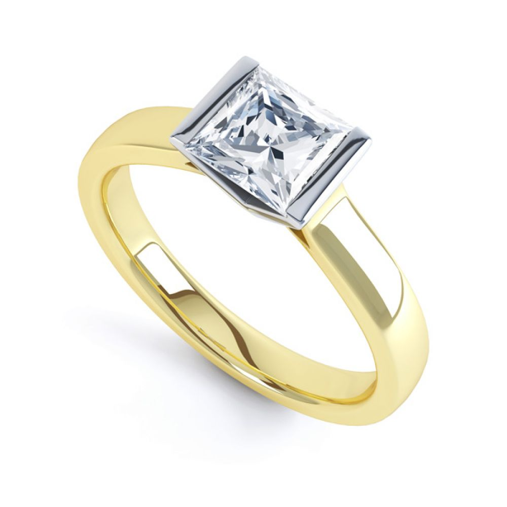 Tension Bar Set Princess Diamond Solitaire Ring In Yellow Gold