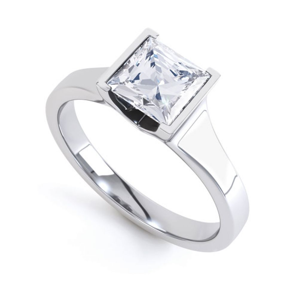 Squared Part Bezel Princess Diamond Solitaire Ring