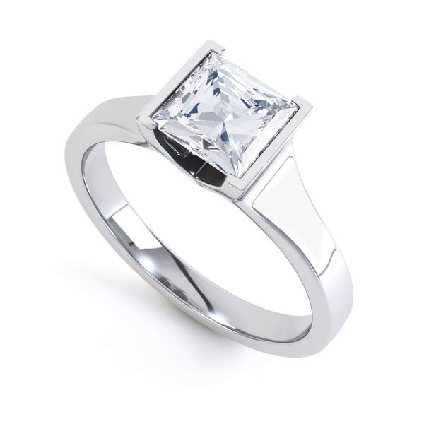 Squared Part Bezel Princess Diamond Solitaire Ring Main Image
