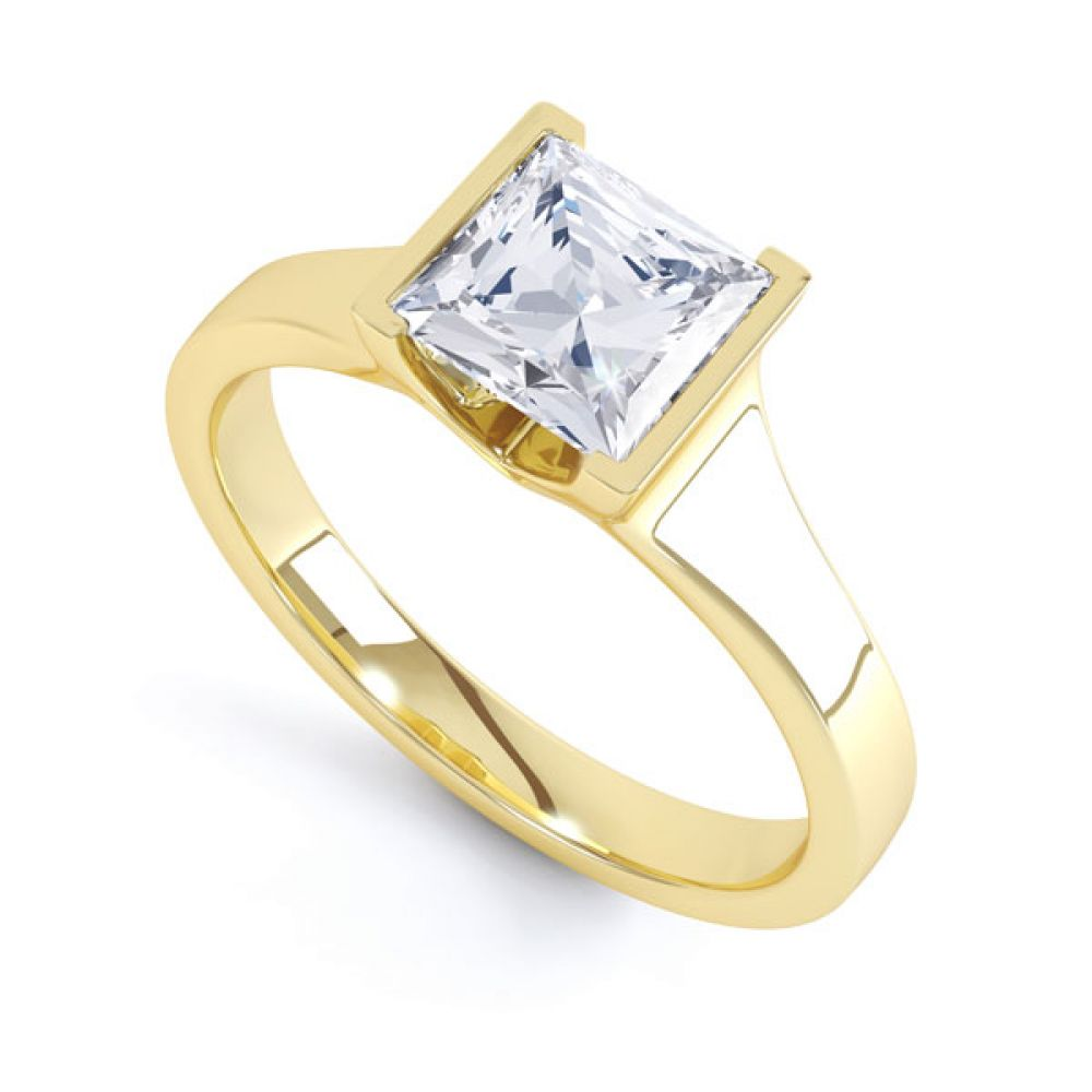 Squared Part Bezel Princess Diamond Solitaire Ring Yellow Gold