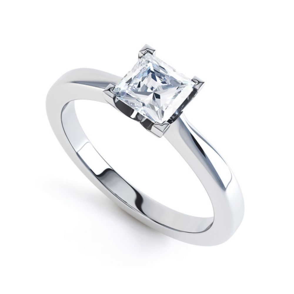 Modern 4 Claw Princess Solitaire Diamond Ring